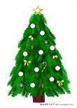 無料ダウンロードプリント:クリスマスツリーのシール台紙(シール枠付き①)