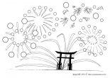 無料ダウンロード:夏のシール貼り台紙 A4サイズ 花火2