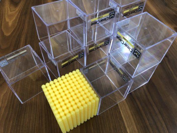 金ビーズの芯材としてのキューブケース